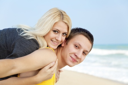 Young couple at the beach. photo