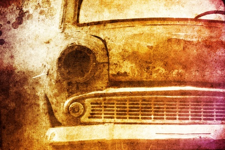 Old car at field. Photo in multicolor image style. photo