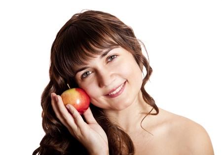 Brunette girl with apple photo