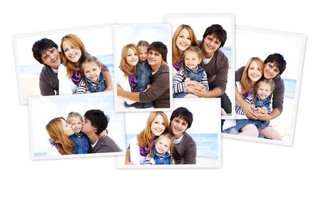 Collage de fotos de la familia en la playa. Foto de archivo