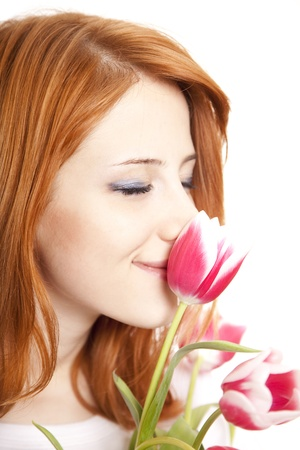 Girl with tulips photo