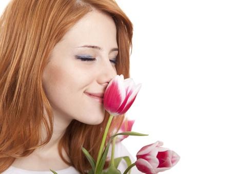 pink tulips: Girl with tulips Stock Photo