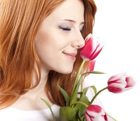 Girl with tulips Stock Photo