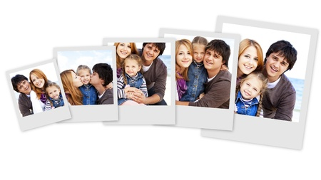 Collage photos of young family at the beach in fall. Photos at white background.