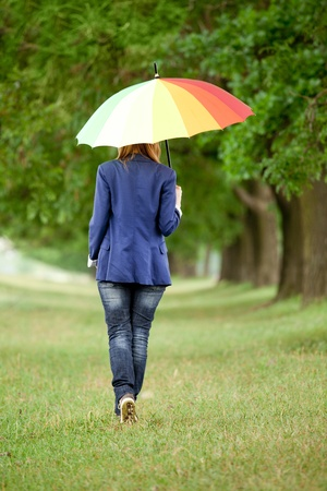 Young fashion girl with umbrella at spring outdoor. photo
