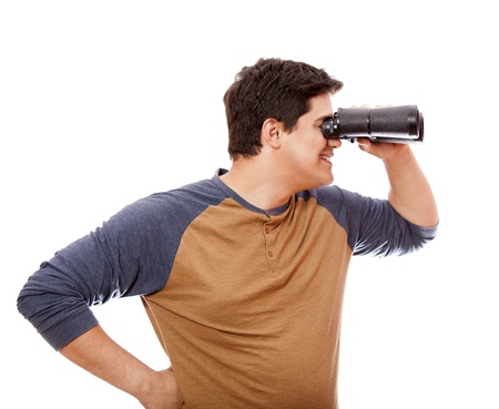 Funny man with binocular. On white background. Stock Photo - 14011253