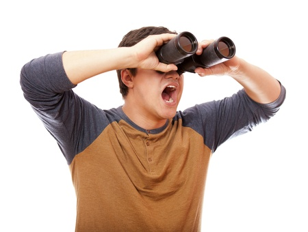 Funny man with binocular. On white background. Stock Photo - 14010691