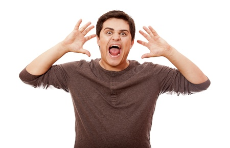 Style man cry at white background. photo