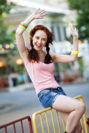 Hipster girl at the street. 版權商用圖片