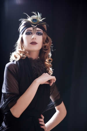 flapper: Redhead girl in 20-s style.