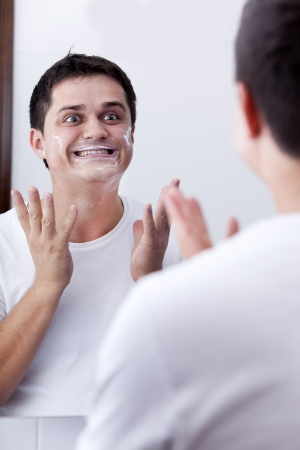 Surprised real men shaving. photo