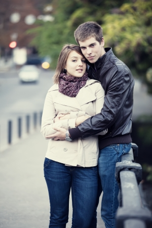 Young couple at the street. photo