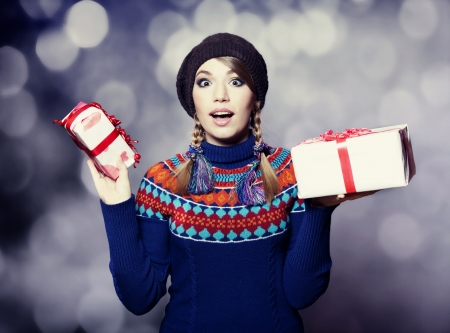 Beautiful girl with gifts