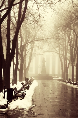 odessa: Winter alley in Odessa, Ukraine. Stock Photo
