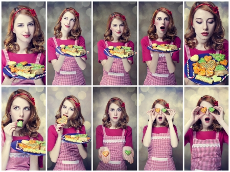 Collage photos - Redhead women with cookies photo