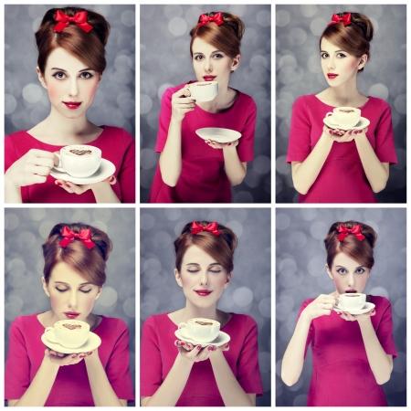 st valentine: Collage de fotos - ni�a pelirroja con la taza de caf�. St. Valentine Day. Foto de archivo