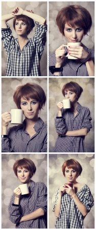 Collage of photos with style girl in shirt with cup at studio.Photos with bokeh at background. Stock Photo - 17641968