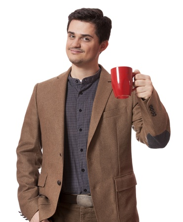 drinking tea: Man having cup of tea on white background
