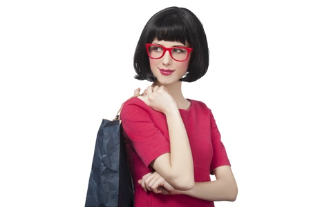 Style hipster girl with bag. Stock Photo - 18342372