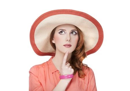 Beautiful redhead girl in hat Stock Photo - 18628606