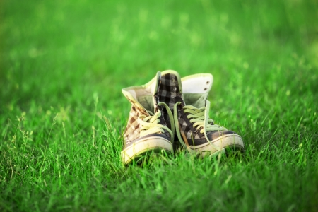 vintage sneakers resting on the grass photo