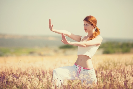 females only: woman doing morning sports exercises Stock Photo