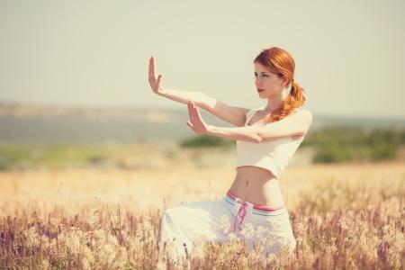 lifestyle: woman doing morning sports exercises Stock Photo