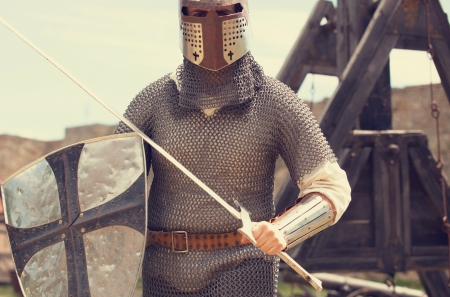 ancient warrior: Knight. Photo in vintage style. Stock Photo