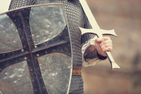 protective shield: Knight. Photo in vintage style. Stock Photo