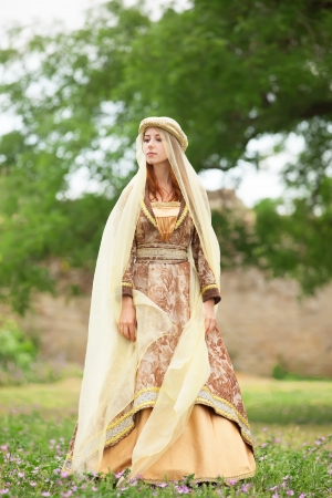 medieval woman: Medieval lady at outdoor. Stock Photo