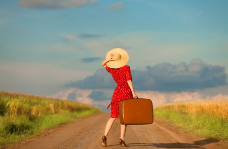 Redhead girl with suitcase at outdoor. Stock Photo - 20260913