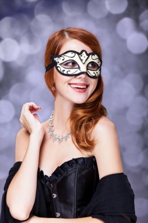Fashion women with mask. photo