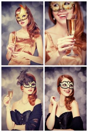 mascara de carnaval: Collage de una niña pelirroja en la máscara Foto de archivo