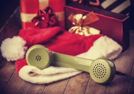 handset: handset and christmas gifts at background