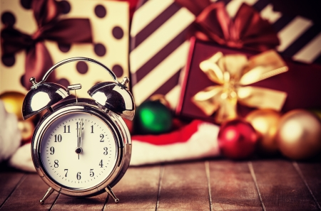 Vintage clock on christmas background photo