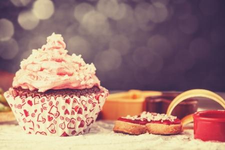 Cream cake. Photo in retro color style photo