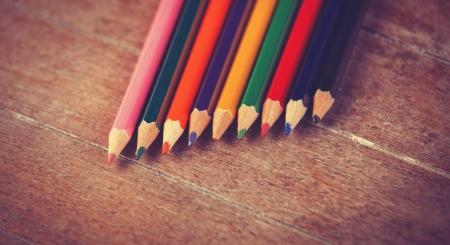 Color pencils. Photo in vintage color image style. photo