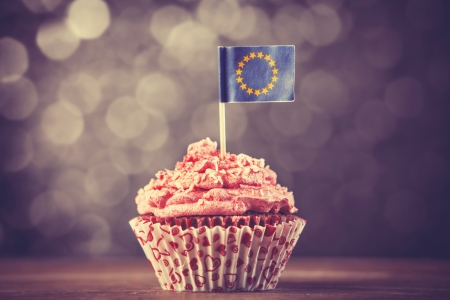 Cake with EU flag. Photo in vintage color style photo