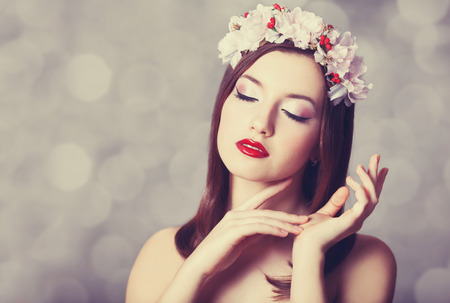 Beautiful young women with wreath. Photo retro image color style. photo