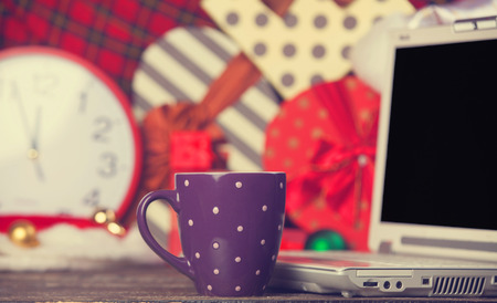 Cup of coffee on christmas background. photo