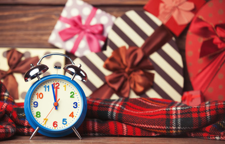 8 years old: Vintage clock on christmas background Stock Photo