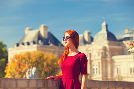 mansard: Redhead girl near Luxembourg Palace
