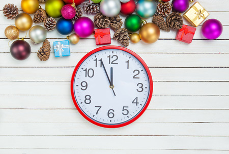 Clock and Christmas toys. photo