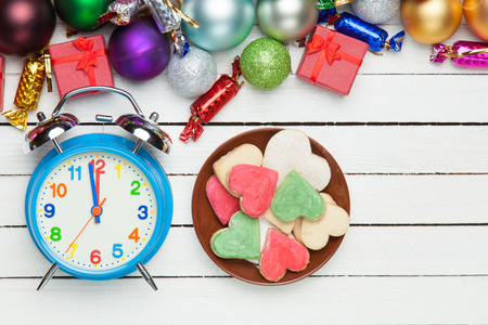 chritmas: Cookies with alarm clock and chritmas gifts