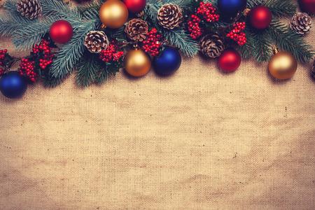 クリスマス プレゼントと松の枝。 写真素材