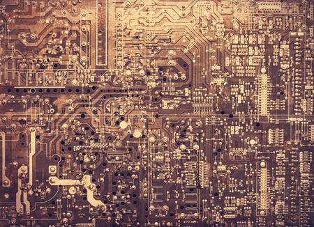 printed circuit board: Vieux carte de circuit imprim�. Photos dans vieux style d'image couleur.