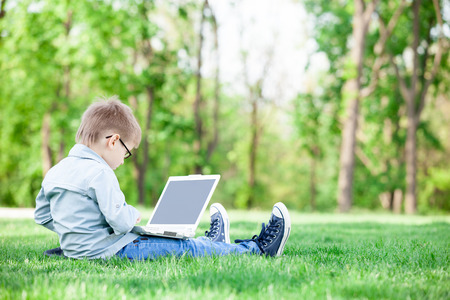 fun day: young boy with a books and laptop computer on green grass in the park