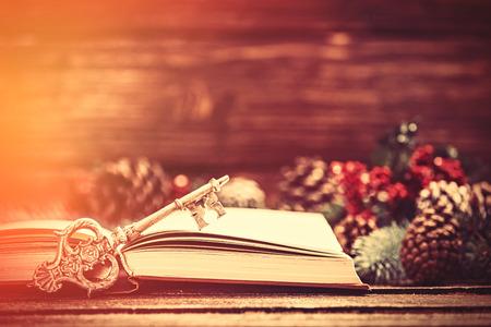 Retro boek en sleutel in de buurt Pine takken op een tafel. Stockfoto