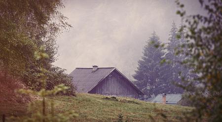 ridgeline: Old house in Ukraine Carpathian mountains
