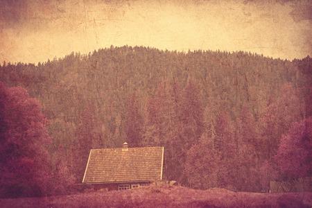 ridgeline: Old house in Ukrainian Carpathian mountains